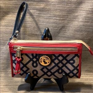 Spartina 449 NWOT wristlet wallet leather/Canvas